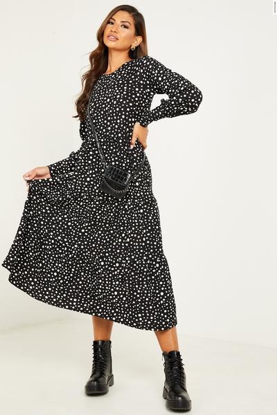 Black Spot Print Tiered Midi Dress